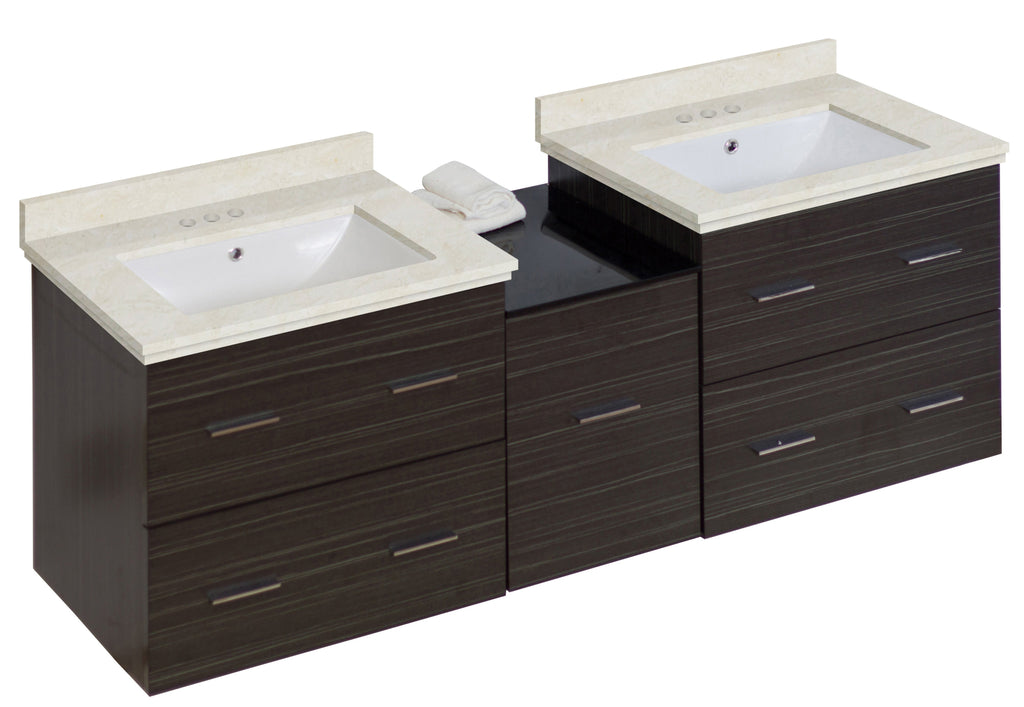 American Imaginations Xena 61.5-in. W Wall Mount Dawn Grey Vanity Set For 3H4-in. Drilling  White UM Sink AI-18945