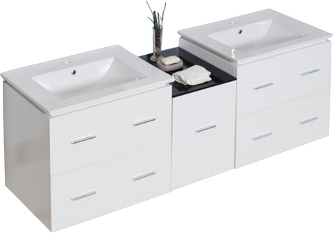 Image of American Imaginations Xena 61.5-in. W Wall Mount White Vanity Set For 1 Hole Drilling AI-743