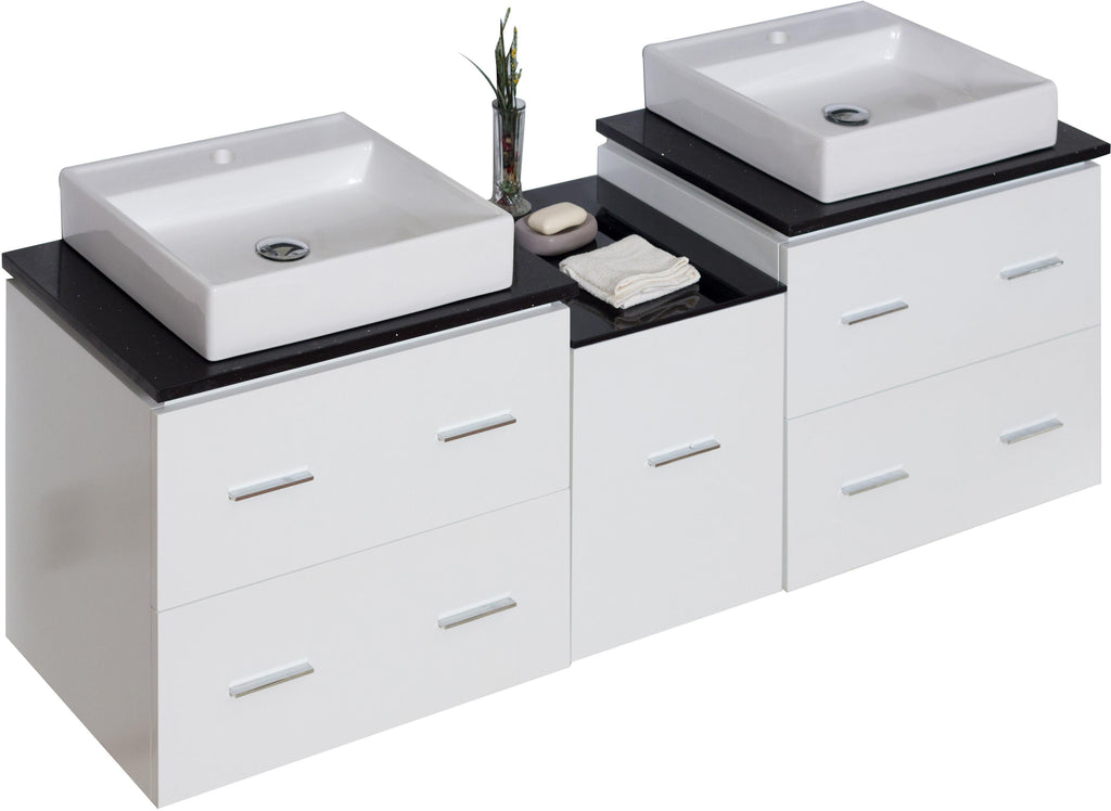 American Imaginations Xena 61.5-in. W Wall Mount White Vanity Set For 1 Hole Drilling Black Galaxy Top AI-745