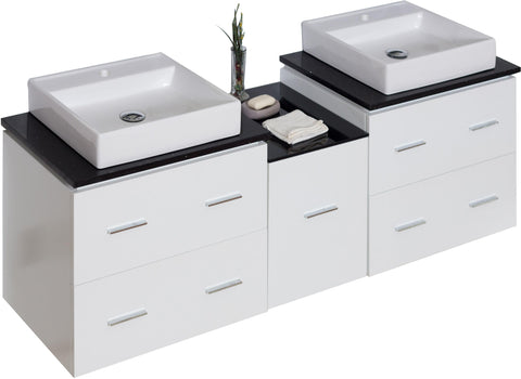 Image of American Imaginations Xena 61.5-in. W Wall Mount White Vanity Set For 1 Hole Drilling Black Galaxy Top AI-745