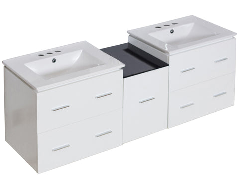 Image of American Imaginations Xena 61.5-in. W Wall Mount White Vanity Set For 3H4-in. Drilling AI-18975