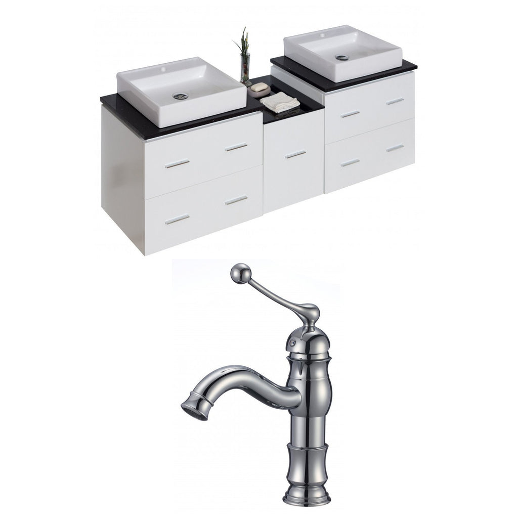 American Imaginations Xena 62-in. W Wall Mount White Vanity Set For 1 Hole Drilling Black Galaxy Top AI-8503