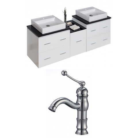 Image of American Imaginations Xena 62-in. W Wall Mount White Vanity Set For 1 Hole Drilling Black Galaxy Top AI-8503