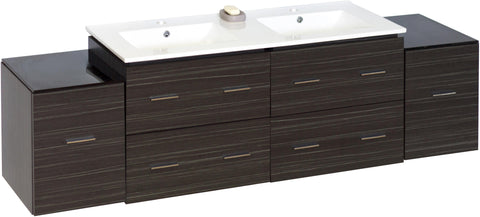 Image of American Imaginations Xena 74.5-in. W Wall Mount Dawn Grey Vanity Set For 1 Hole Drilling AI-749