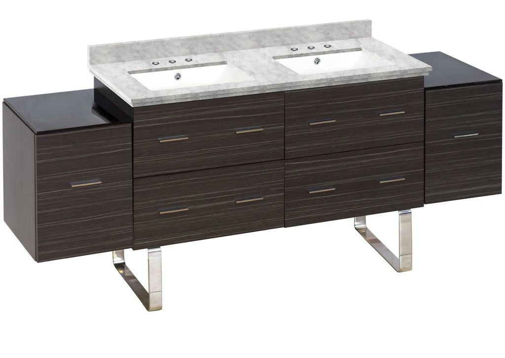 American Imaginations Xena 76-in. W Floor Mount Dawn Grey Vanity Set For 3H8-in. Drilling Bianca Carara Top White UM Sink AI-19034
