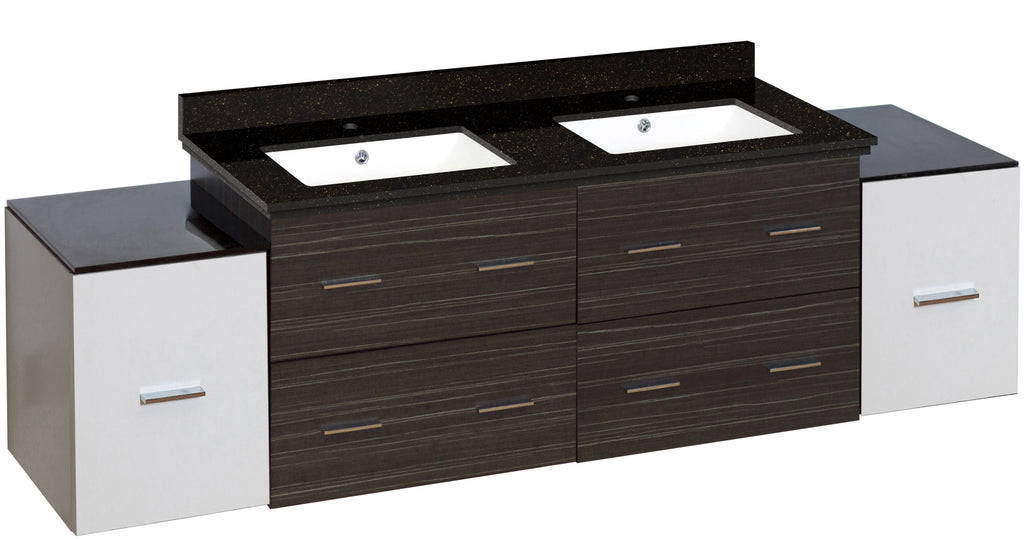 American Imaginations Xena 76-in. W Wall Mount White-Dawn Grey Vanity Set For 1 Hole Drilling Black Galaxy Top White UM Sink AI-20121