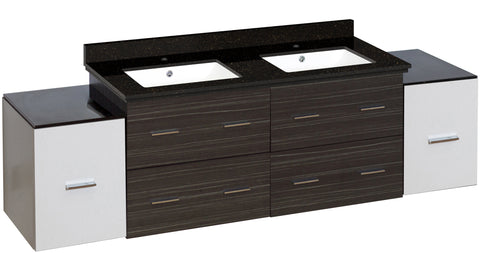Image of American Imaginations Xena 76-in. W Wall Mount White-Dawn Grey Vanity Set For 1 Hole Drilling Black Galaxy Top White UM Sink AI-20121