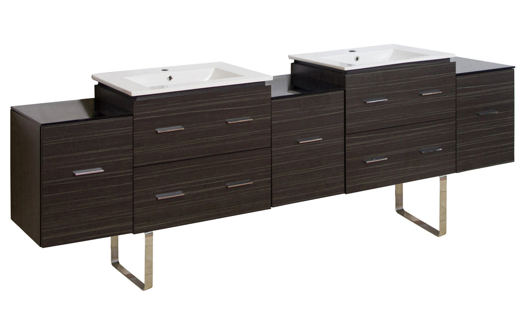 American Imaginations Xena 88.5-in. W Floor Mount Dawn Grey Vanity Set For 1 Hole Drilling AI-19094
