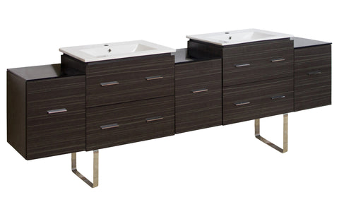 Image of American Imaginations Xena 88.5-in. W Floor Mount Dawn Grey Vanity Set For 1 Hole Drilling AI-19094