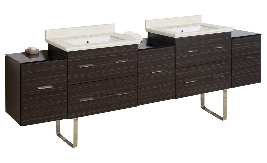 American Imaginations Xena 88.5-in. W Floor Mount Dawn Grey Vanity Set For 3H8-in. Drilling  White UM Sink AI-19105