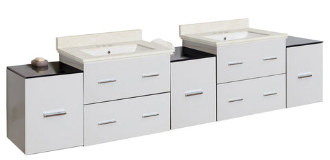 Image of American Imaginations Xena 88.5-in. W Wall Mount White Vanity Set For 3H4-in. Drilling  White UM Sink AI-19128