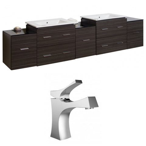Image of American Imaginations Xena 89.50-in. W Wall Mount Dawn Grey Vanity Set For 1 Hole Drilling AI-8504