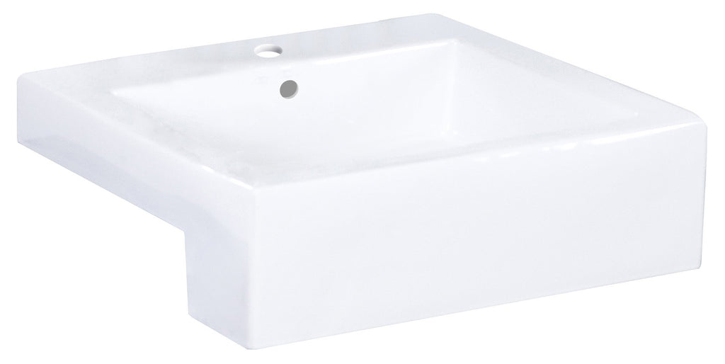 American Imaginations Xena Farmhouse 20.25-in. W Semi-Recessed White Vessel For 1 Hole Center Drilling AI-1581