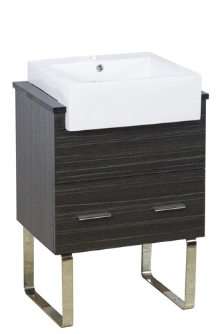 Image of American Imaginations Xena Farmhouse 25.25-in. W Floor Mount Dawn Grey Vanity Set For 1 Hole Drilling Black Galaxy Top AI-1543