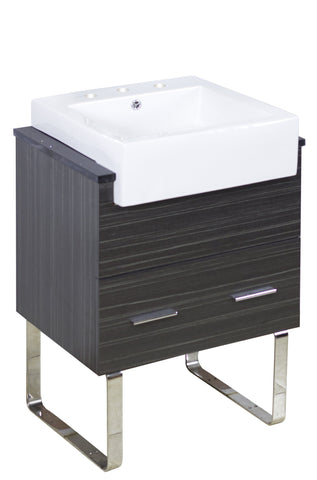 Image of American Imaginations Xena Farmhouse 25.25-in. W Floor Mount Dawn Grey Vanity Set For 3H8-in. Drilling Black Galaxy Top AI-1546