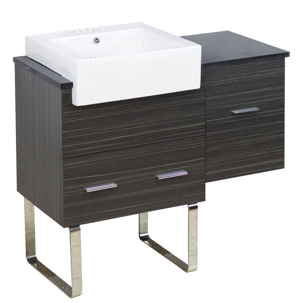 American Imaginations Xena Farmhouse 36.75-in. W Floor Mount Dawn Grey Vanity Set For 3H4-in. Drilling Black Galaxy Top AI-1549