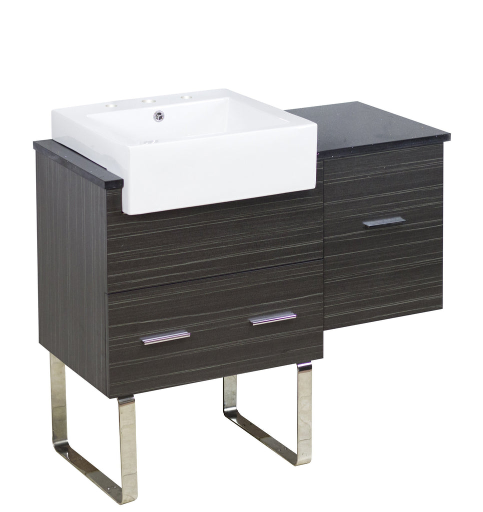 American Imaginations Xena Farmhouse 36.75-in. W Floor Mount Dawn Grey Vanity Set For 3H8-in. Drilling Black Galaxy Top AI-1548