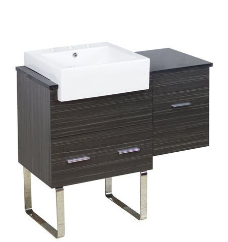 Image of American Imaginations Xena Farmhouse 36.75-in. W Floor Mount Dawn Grey Vanity Set For 3H8-in. Drilling Black Galaxy Top AI-1548