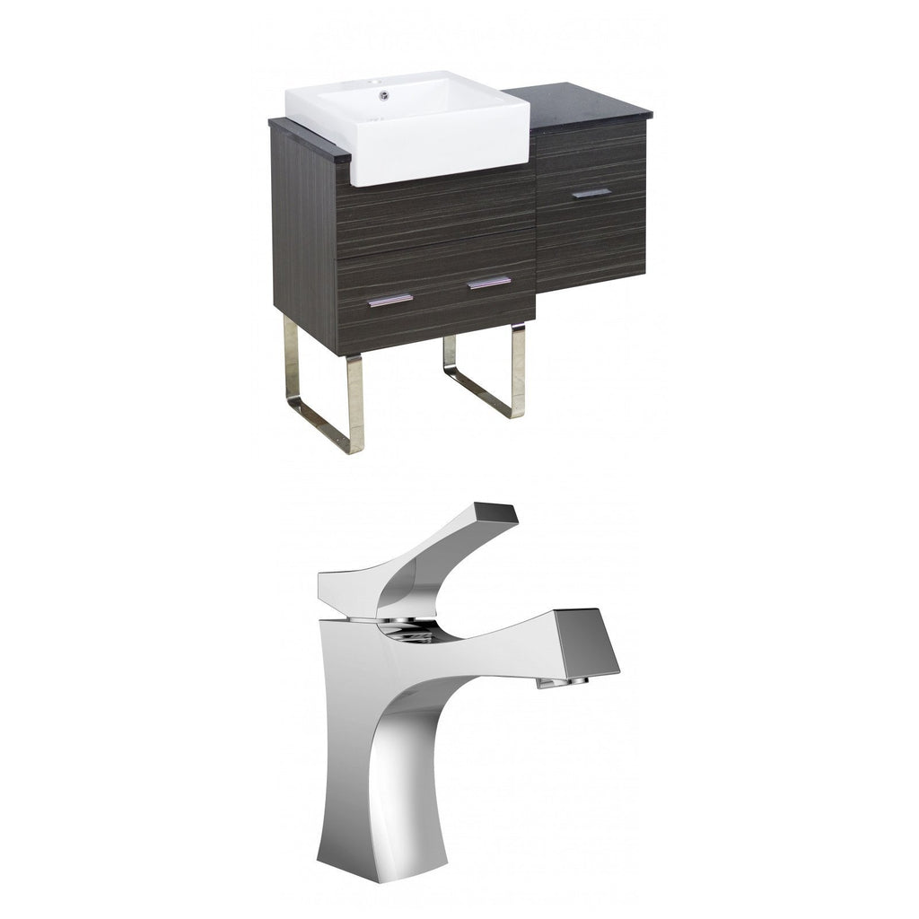 American Imaginations Xena Farmhouse 38.75-in. W Floor Mount Dawn Grey Vanity Set For 1 Hole Drilling Black Galaxy Top AI-10324