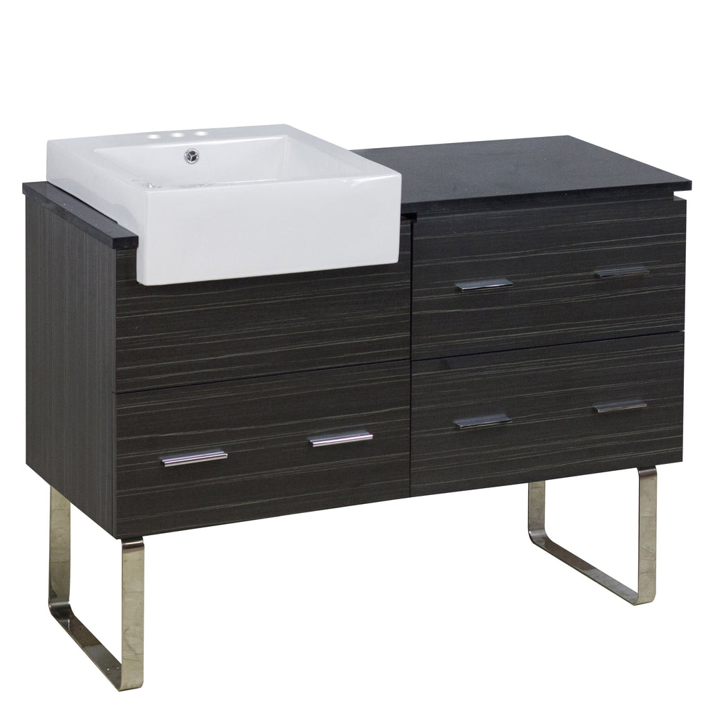 American Imaginations Xena Farmhouse 48.75-in. W Floor Mount Dawn Grey Vanity Set For 3H4-in. Drilling Black Galaxy Top AI-19733