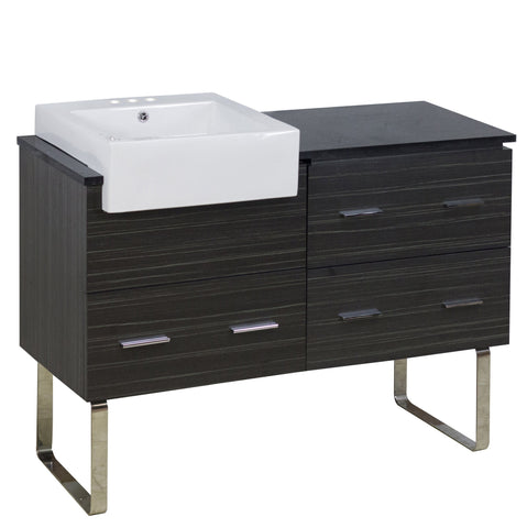 Image of American Imaginations Xena Farmhouse 48.75-in. W Floor Mount Dawn Grey Vanity Set For 3H4-in. Drilling Black Galaxy Top AI-19733