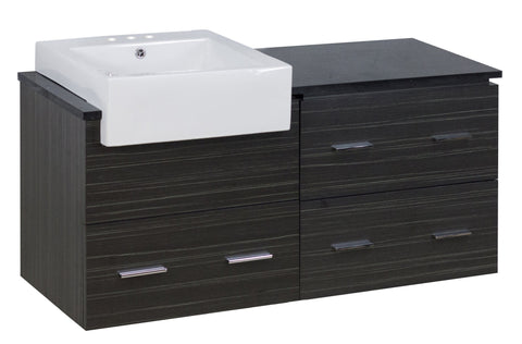 Image of American Imaginations Xena Farmhouse 48.75-in. W Wall Mount Dawn Grey Vanity Set For 3H4-in. Drilling Black Galaxy Top AI-19739