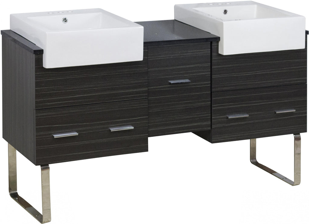 American Imaginations Xena Farmhouse 59.5-in. W Floor Mount Dawn Grey Vanity Set For 3H4-in. Drilling AI-20304