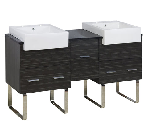 Image of American Imaginations Xena Farmhouse 59.5-in. W Floor Mount Dawn Grey Vanity Set For 3H8-in. Drilling Black Galaxy Top AI-1554