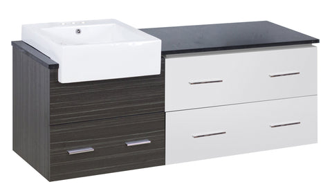 Image of American Imaginations Xena Farmhouse 60.75-in. W Wall Mount Dawn Grey Vanity Set For 3H4-in. Drilling Black Galaxy Top AI-19766