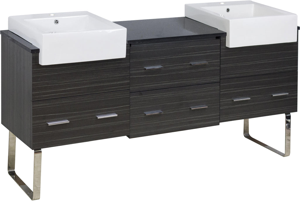 American Imaginations Xena Farmhouse 73.5-in. W Floor Mount Dawn Grey Vanity Set For 1 Hole Drilling Black Galaxy Top AI-19774