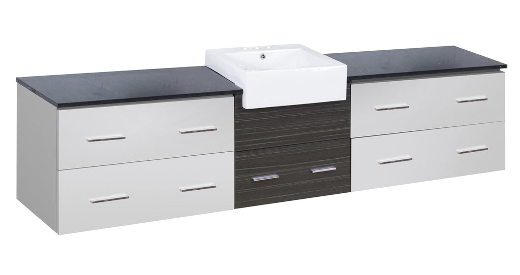 American Imaginations Xena Farmhouse 96.25-in. W Wall Mount White-Dawn Grey Vanity Set For 3H4-in. Drilling Black Galaxy Top AI-19820
