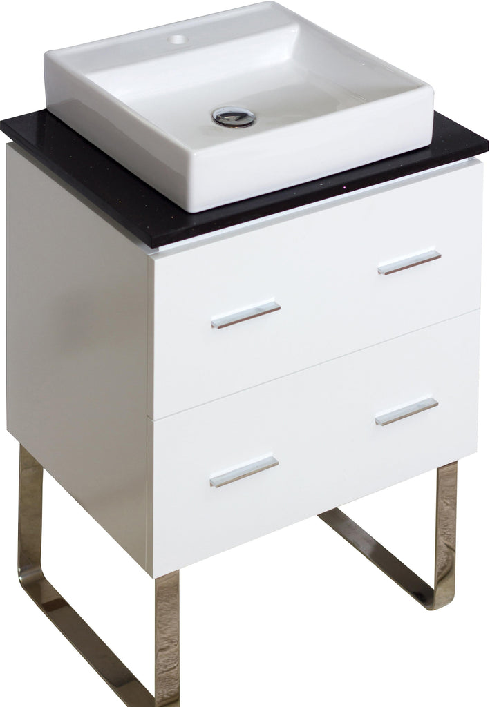 American Imaginations Xena Quartz 24-in. W Floor Mount White Vanity Set For 1 Hole Drilling Black Galaxy Top AI-733