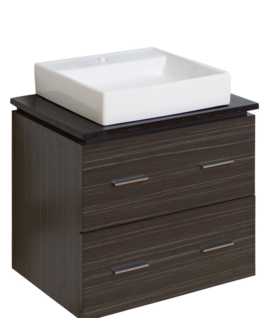 American Imaginations Xena Quartz 24-in. W Wall Mount Dawn Grey Vanity Set For 1 Hole Drilling Black Galaxy Top AI-730
