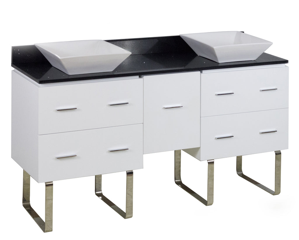 American Imaginations Xena Quartz 60-in. W Floor Mount White Vanity Set For Deck Mount Drilling Black Galaxy Top AI-1432