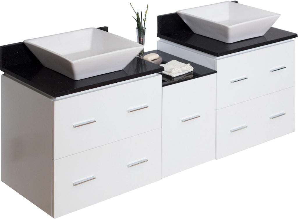 American Imaginations Xena Quartz 62-in. W Wall Mount White Vanity Set For Deck Mount Drilling Black Galaxy Top AI-744