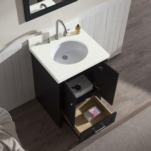 "Ariel Adams 25"" Single Sink Vanity Set in Black L025S-BLK"