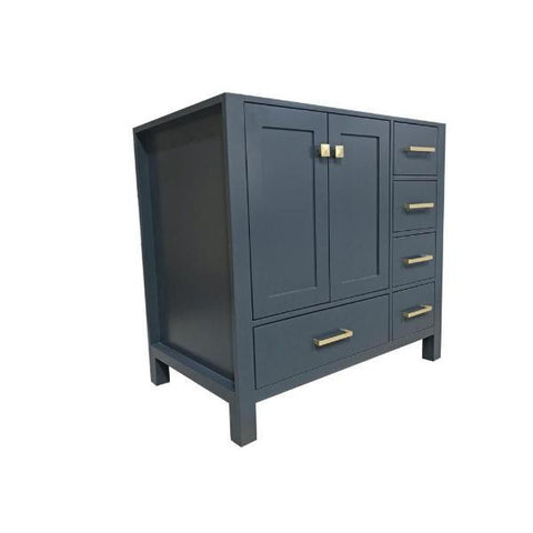"Ariel Cambridge 36"" Midnight Blue Transitional Vanity Base Cabinet A037S-L-BC-MNB A037S-L-BC-MNB"