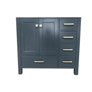 "Ariel Cambridge 36"" Midnight Blue Transitional Vanity Base Cabinet A037S-L-BC-MNB VAN081-48-T"