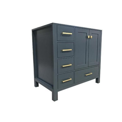 "Ariel Cambridge 36"" Midnight Blue Transitional Vanity Base Cabinet A037S-R-BC-MNB A037S-R-BC-MNB"
