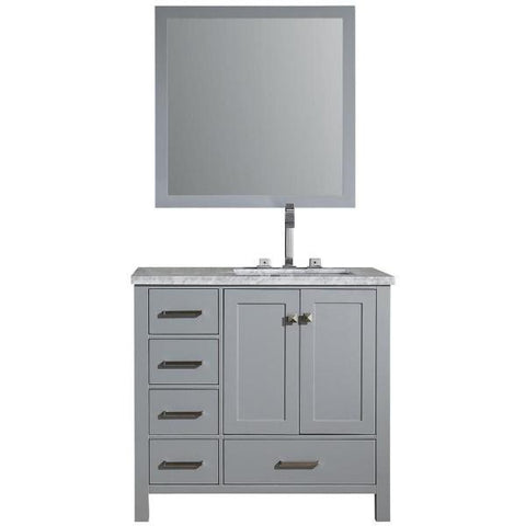 "Image of Ariel Cambridge 37"" Grey Modern Rectangle Sink Bathroom Vanity  A037S-L-CWR-GRY"