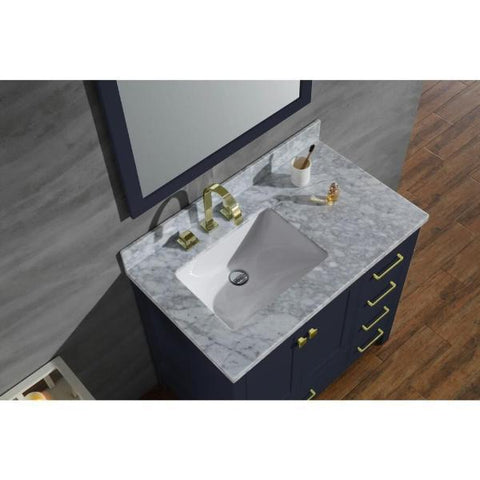 "Ariel Cambridge 37"" Midnight Blue Modern Bathroom Vanity A037S-L-CWR-MNB A037S-L-CWR-MNB"