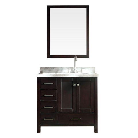 "Image of Ariel Cambridge 37"" Single Sink Vanity Set w/ Right Offset Sink in Espresso A037S-R-ESP"