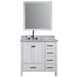 "Ariel Cambridge 37"" White Modern Rectangle Sink Bathroom Vanity A037S-L-CWR-WHT"