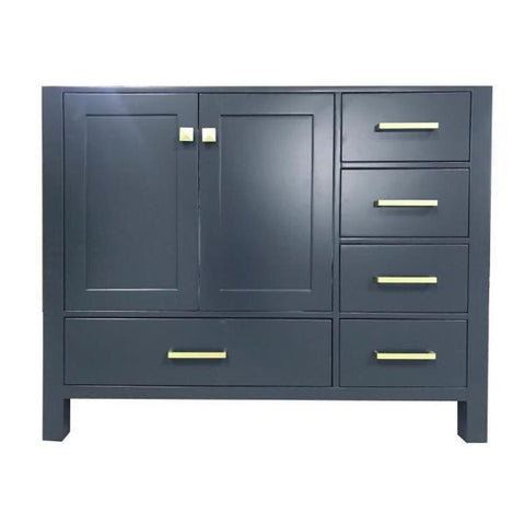 "Ariel Cambridge 42"" Midnight Blue Transitional Vanity Base Cabinet A043S-L-BC-ESP A043S-BC-MNB"