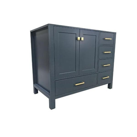 "Ariel Cambridge 42"" Midnight Blue Transitional Vanity Base Cabinet A043S-L-BC-MNB A043S-L-BC-MNB"