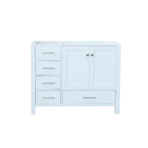 "Image of Ariel Cambridge 42"" White Transitional Vanity Base Cabinet A043S-L-BC-WHT A043S-R-BC-WHT"