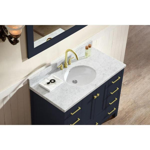 "Image of Ariel Cambridge 43"" Midnight Blue Modern Oval Sink Bathroom Vanity A043S-MNB"