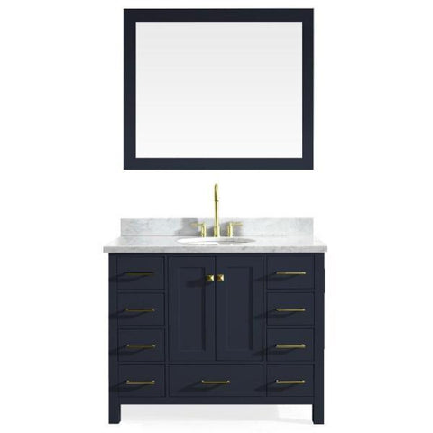 "Image of Ariel Cambridge 43"" Midnight Blue Modern Oval Sink Bathroom Vanity A043S-MNB A043S-MNB"