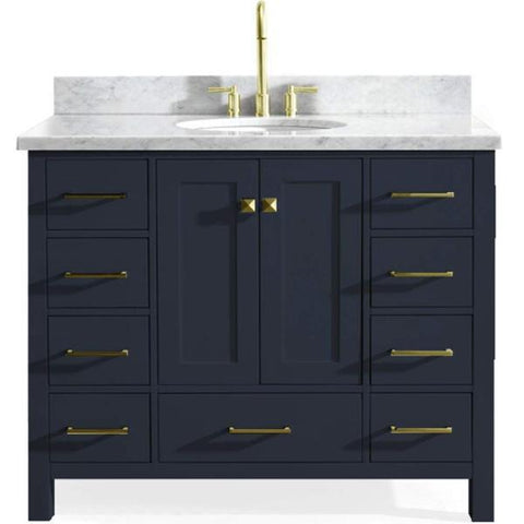 "Image of Ariel Cambridge 43"" Midnight Blue Modern Oval Sink Bathroom Vanity A043S-MNB A043S-VO-MNB"