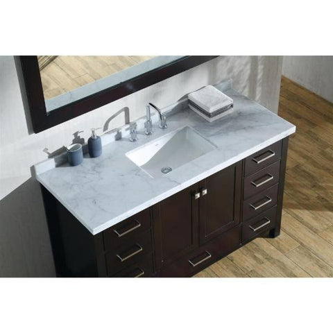 "Ariel Cambridge 55"" Espresso Modern Rectangle Sink Bathroom Vanity A055S-CWR-ESP"